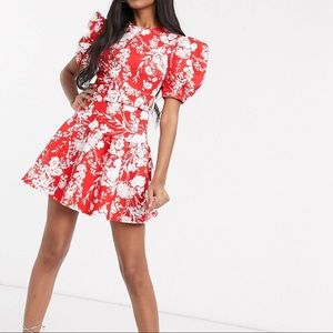 ASOS puff sleeve belted floral skater dress